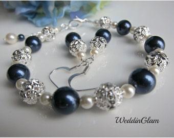 Wedding Jewelry, Bridesmaid Navy Blue Ivory Jewelry Set. Swarovski Pearl Set, Pearl Wedding Jewelry, Bridesmaid gift set, Bridal Party Gift
