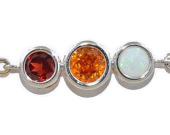 2 Ct Genuine Garnet Citrine & Opal Bezel Bracelet .925 Sterling Silver Rhodium Finish