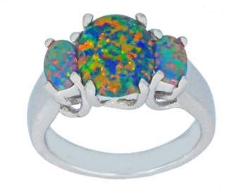 Black Opal Oval Ring .925 Sterling Silver Rhodium Finish