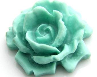 12 pcs   of resin  flower  cabochon 33mm -0007-27-light blue