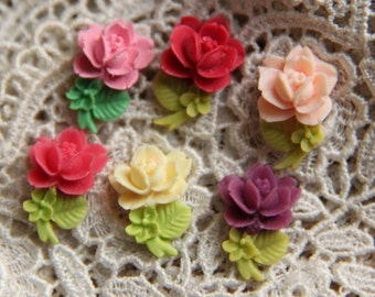 12 pcs of resin rose with leave cabochon 20x10mm-RC0034-mix color