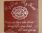 Firefighter Sign, Firefighter Decor, Distressed Wood Sign, Firefighter Kids, Firefighter Hero, First Responder Signs - My Dad, My Hero