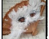HALLOWEEN Mask white swan feathered masquerade costume mask