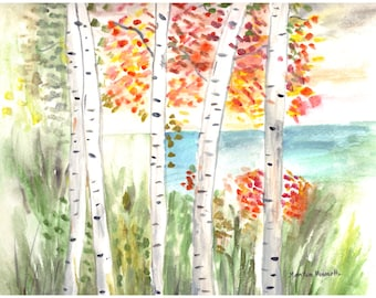 Birches original watercolor painting, trees painting, birches art trees, landscape painting, birches watercolor, leaves 12 x 9 inch
