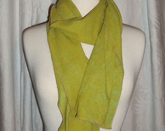 Silk Scarf Hand Dyed 100%Silk Noil in Chartreuse
