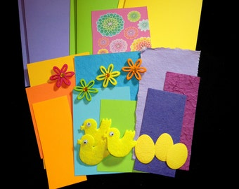 SALE25% off - Spring Zing- 3 blank greeting cards kit -OOAK ready to ship