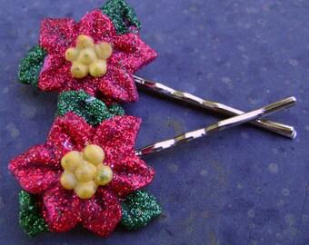 Poinsettia Bobby Pins