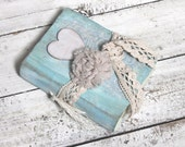 Blue wedding guest book  OR photo album valentine primitive heart - LotusBluBookArt