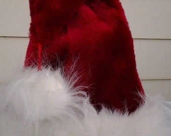 Classic red and long white Santa hat