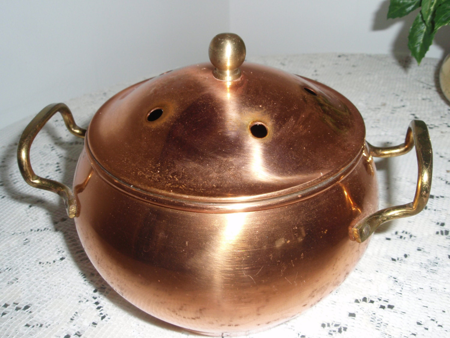Copper Bowl With Brass Handles And Lid Copper Pot With Vents