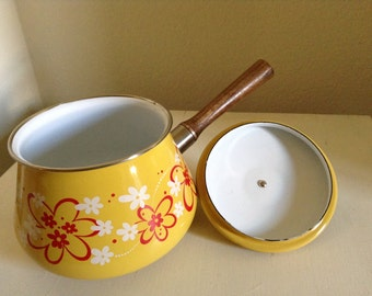 Fondue Pot, Yellow Red Retro Pot, Sauce Pan