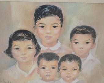 Vintage Children's Chalk Portrait / Dated (1954) and Signed