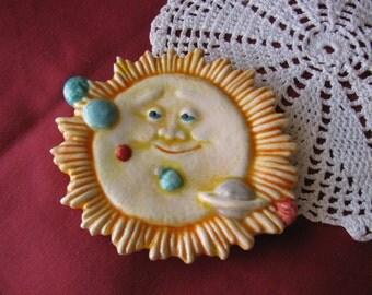 Celestial Sun and Planets Ceramic Teabag Holder, Spoon Rest or Trinket Dish