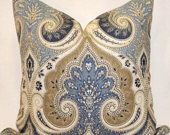 Decorator Pillow Cover -Kravet -  Blue - Tan - Khaki -Cream- Latika