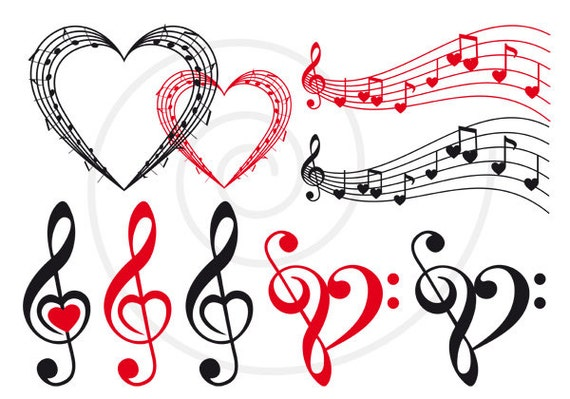 Love music music heart musical notes digital clip art by ...