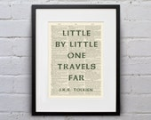 Little By Little, One Travels Far / J.R.R. Tolkien - Inspirational Quote Dictionary Page Book Art Print - DPQU145