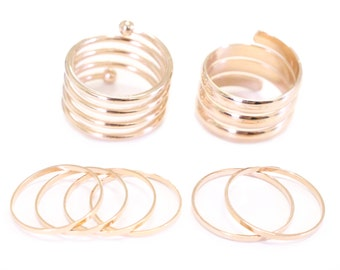 Swirl Must Have set - knuckle rings gold tube rings and gold midi rings cuff rings