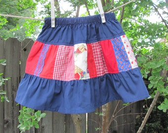Girls ruffle skirt - red and blue patchwork