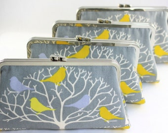 Autumn Tree & Birds Clutches / Grey Bridesmaid Clutches / Grey Wedding Purses - Set of 4