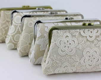 Cream Lace Wedding Clutches / Retro Bridesmaid Clutches / Wedding Party Gift - Set of 4