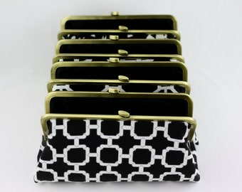 Black and White Bridesmaid Clutches / Design Your Own in Various Fabrics for bridesmaids / Wedding Clutches - Set of 5