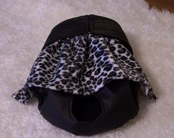 Waterproof dog diaper. w/Cheetah fauxfur ruffle
