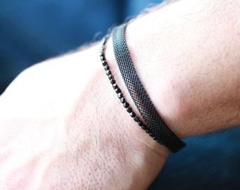 Mens Black Mesh Bracelet - Mesh t bracelet