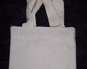 Small canvas bag to decorate,tote with handles,4.75 in by 5.25 in,cotton natural color,Kids craft,undecorated,Christmas