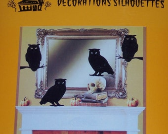 Owl Silhouette cut outs,15/pkg,black shadows,cardmaking,decoupage,scrapbooking,collage,kid's art,Halloween
