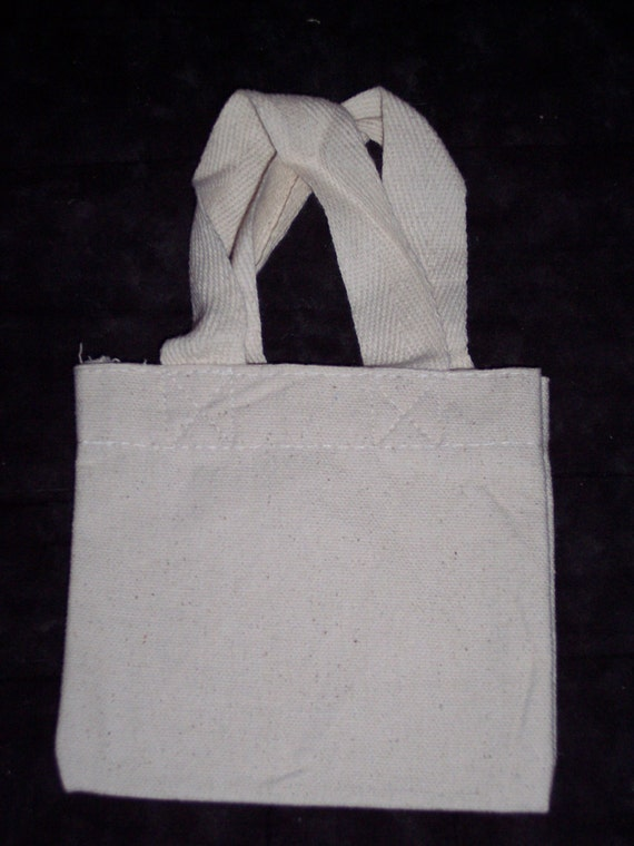 Small canvas bag to decorate,tote with handles,4.75 in by 5.25 in ...