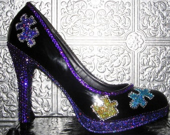 autism awareness shoes with rhinestone heels, puzzle pieces and glittered soles
