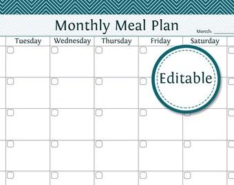 monthly menu planner printable