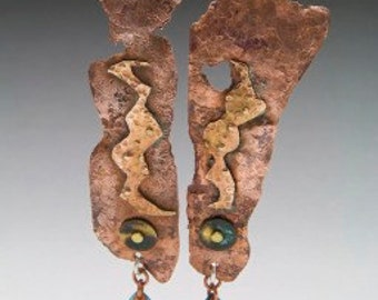 Ethnic, Tribal Forged Copper Earrings with Aged Patina