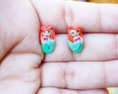 disney  princess stud polymer clayearrings(Ariel the little mermaid, belle, cindella, rampuzel, tiana etc)