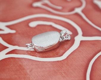 1 Set, Box Clasp, 18K White Gold Vermeil, Stardust Oval Shape, Single-strand, Necklace or Bracelet Clasp, High Quality DIY Supplies