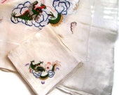 Vintage Embroidered Tablecloth- Six Napkins- Organza with Embroidered Dragon- Asian Style-Vintage Table Linens-Tablecloth Set