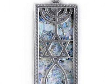 Great Ancient Roman Glass Pendant, 925 Sterling Silver Pendant, David Star, Menorah Pendant, Judaica, Unique Jewelry