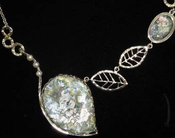 One Of A Kind 925 Sterling Silver Necklace, Ancient Roman Glass Necklace, Leaf Design, Unique Jewelry