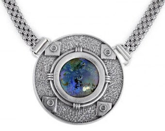 One Of A Kind Round 925 Sterling Silver Necklace, Ancient Roman Glass Necklace, OOAK, Unique Jewelry