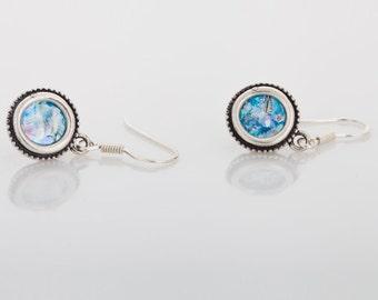 Roman Glass Earrings, Dangle 925 Sterling Silver Earrings, Ancient Roman Glass