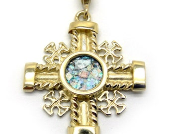 Unique 14K Yellow Gold Cross, Ancient Roman Glass Pendant, Gold Pendant, Unique Jewelry