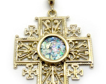 Unique 14K Yellow Gold Cross, Ancient Roman Glass Pendant, Filigree Gold Pendant, Roman Glass Jewelry