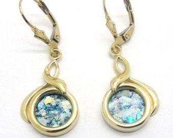 14K Yellow Gold Earrings, Ancient Roman Glass Earrings, Dangle Round Earrings, Unique Jewelry