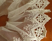 white embroidered lace trim, scalloped lace fabric, vintage lace, gauze lace, retro tulle lace