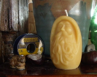 Old Man Winter Beeswax Candle ~ Vintage Santa ~ St. Nick ~ Merlin? ~ All Natural Wintry Beeswax Candle