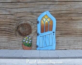 Blue crooked fairy door tooth fairy door stained glass for Rainbow fairy door