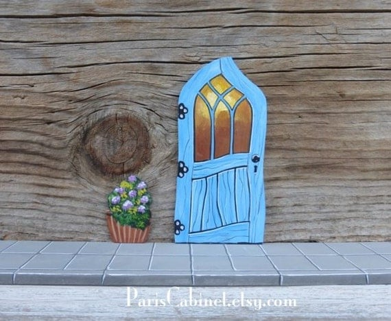 Crooked fairy door tooth fairy door stained glass by for Painted fairy doors