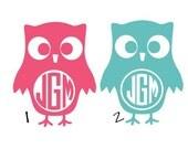 "2"" Owl Cute iPhone Sticker Monogram Decal Sticker"