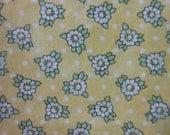 Pale Yellow With Daisies Print Cotton Fabric