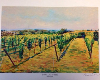 Print of Barrel Oak Winery Landscape in Summer Painting by Palmer Smith